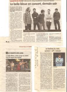 Articles journaux Concerts de La Belle Bleue (20/07/2018) et Govrache (02/06/2018).